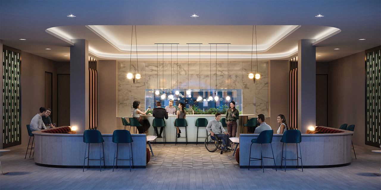 Rendering of Artsy Condos party room with bar seating.
