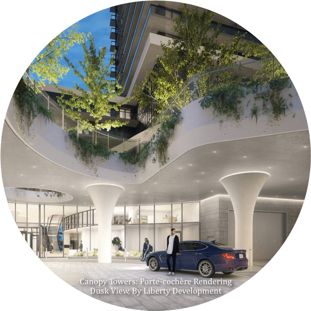 Rendering of Canopy Towers Condos porte-cochere.
