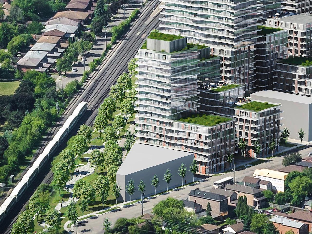 Aerial lower portion view of Grand Park Village Condos.