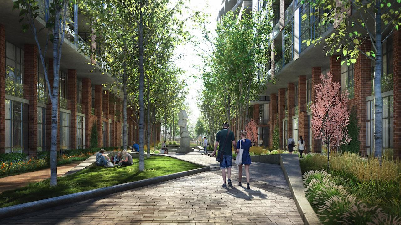 Rendering of Grand Park Village walkway with lush greenery.