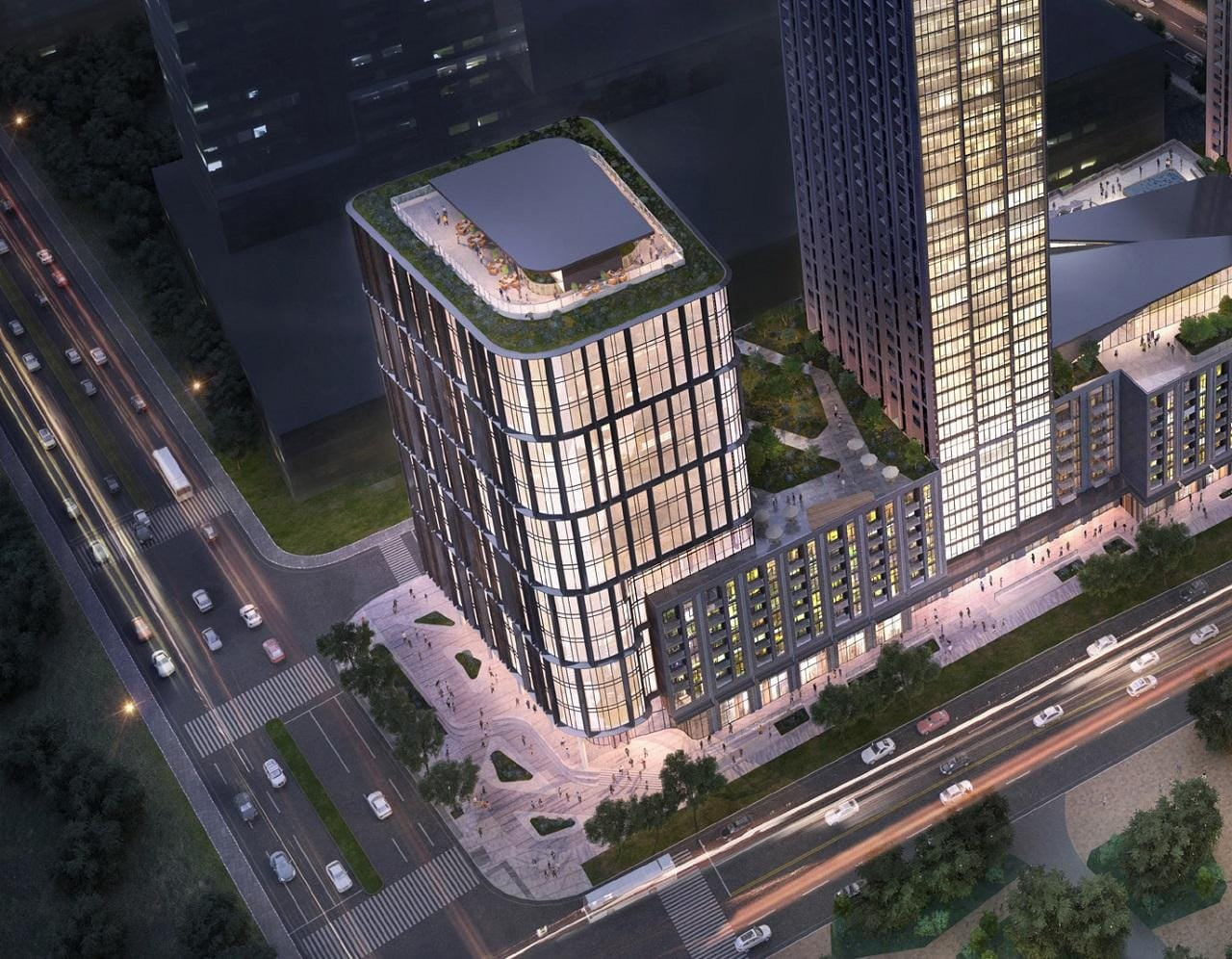 Exterior rendering of 7800 Jane Condos commercial building at night.