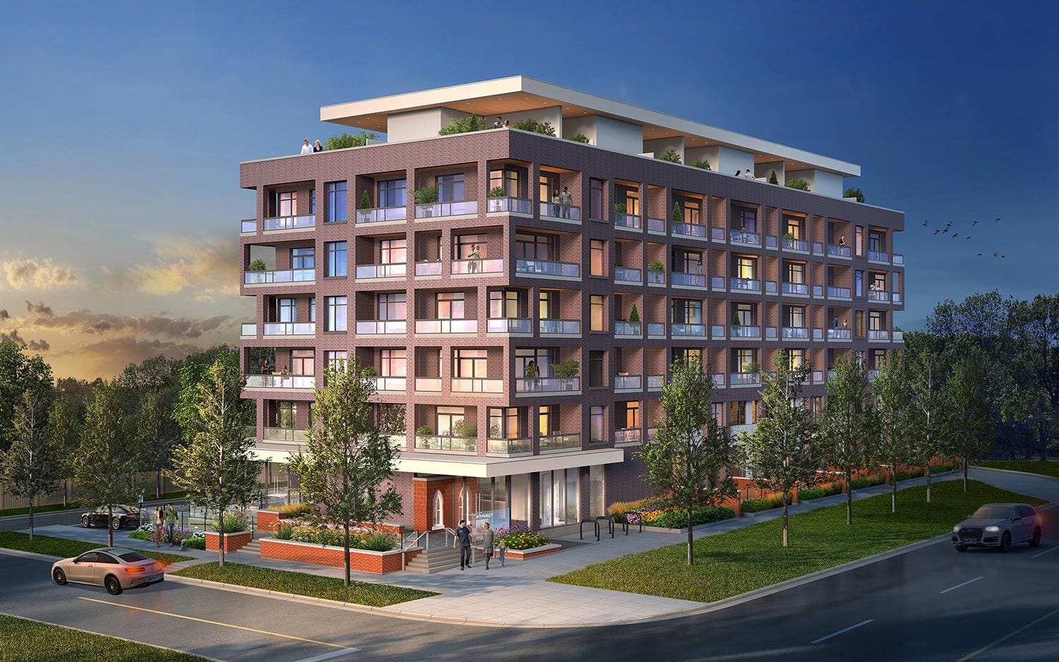 Rendering of The Charlotte Boutique Condos in Whitby exterior at dusk.