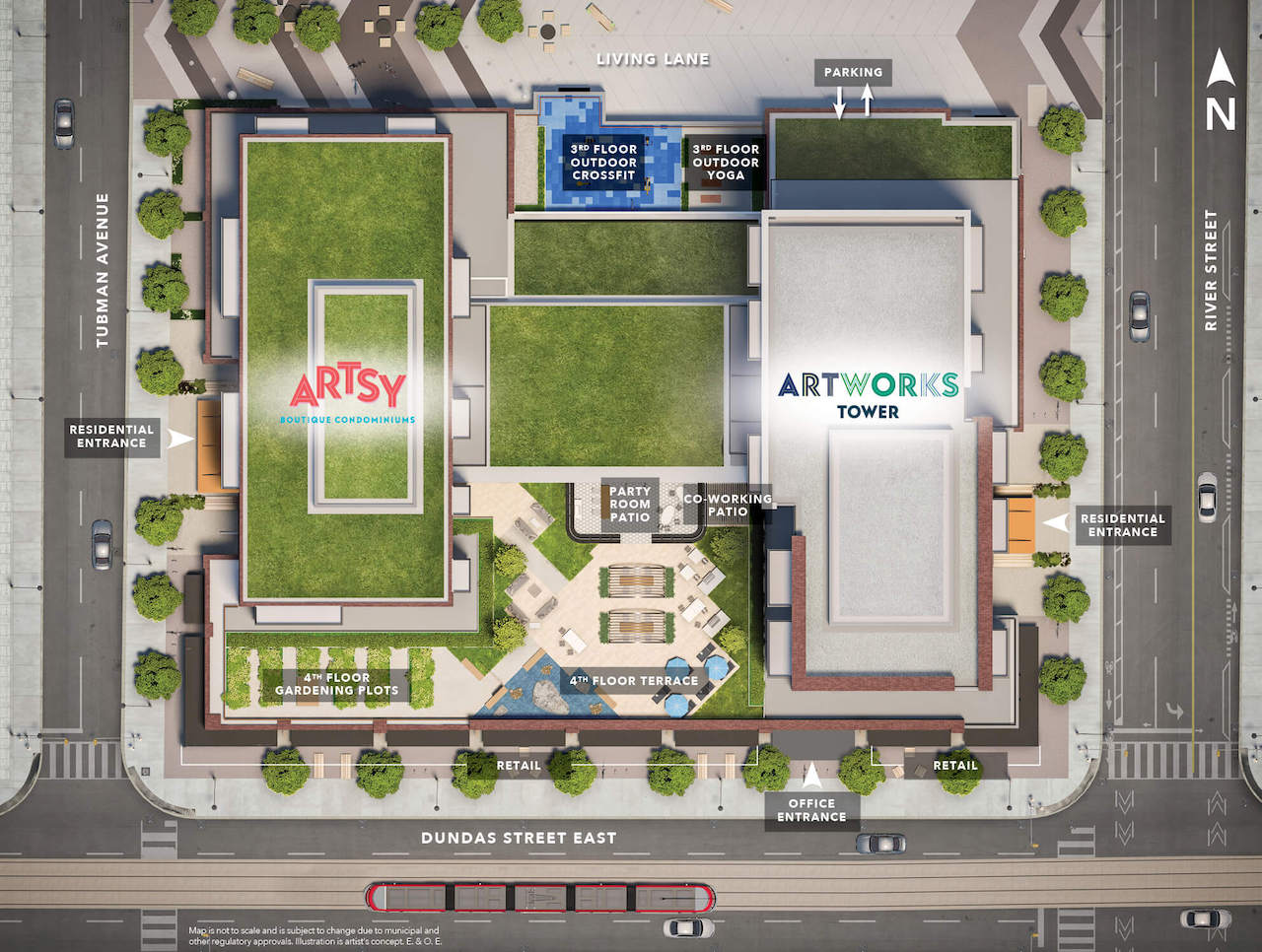 Site plan for Artsy Boutique Condominiums and Artworks Tower in Toronto.