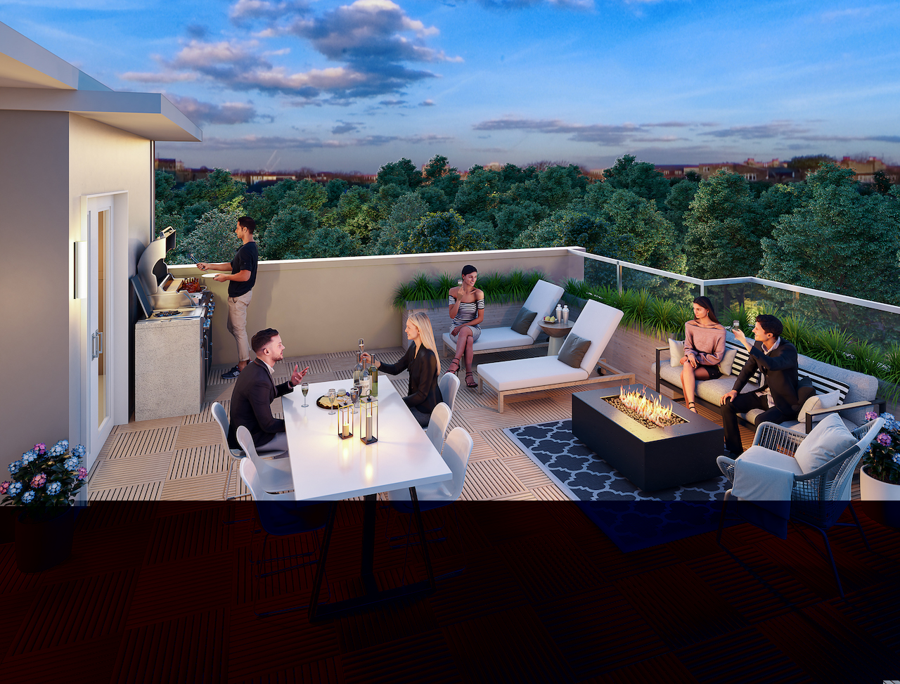 Rendering of Amsterdam Urban Towns O'Connor Drive rooftop.