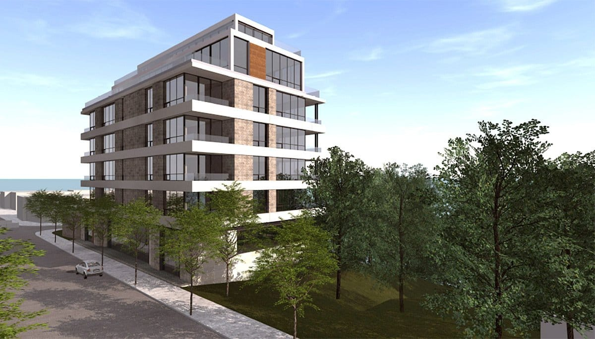 Rendering of 847 Kingston Road Condos building side-view exterior.