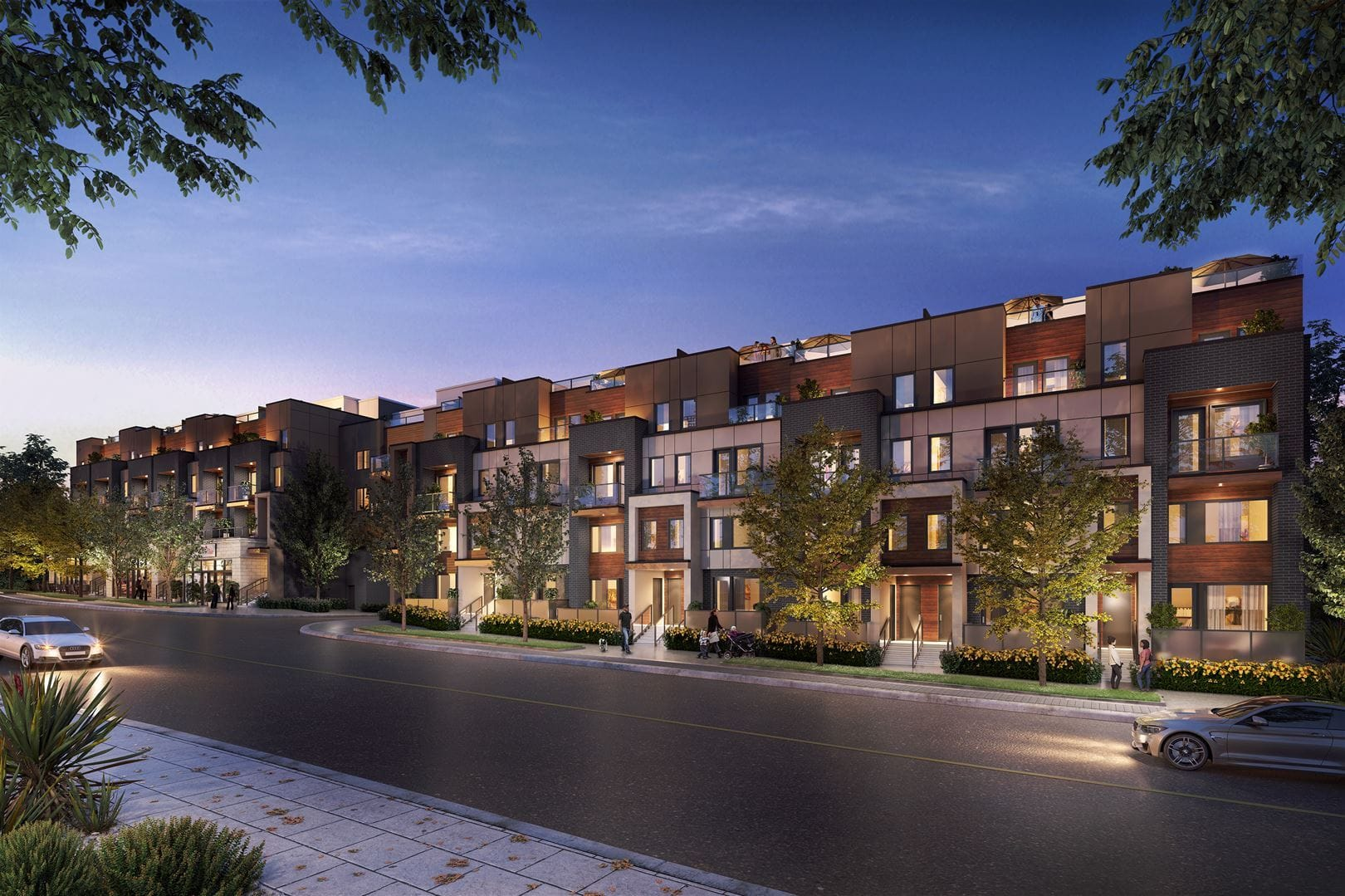 Streetscape evening rendering of Amsterdam Urban Townhomes in Toronto.