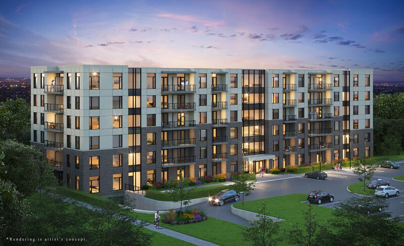 Exterior rendering of Spur Line Common condos building exterior with surrounding greenery and outdoor resident parking.