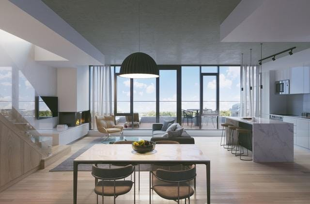 Interior rendering of The Carvalo on College Condos open-concept suite.