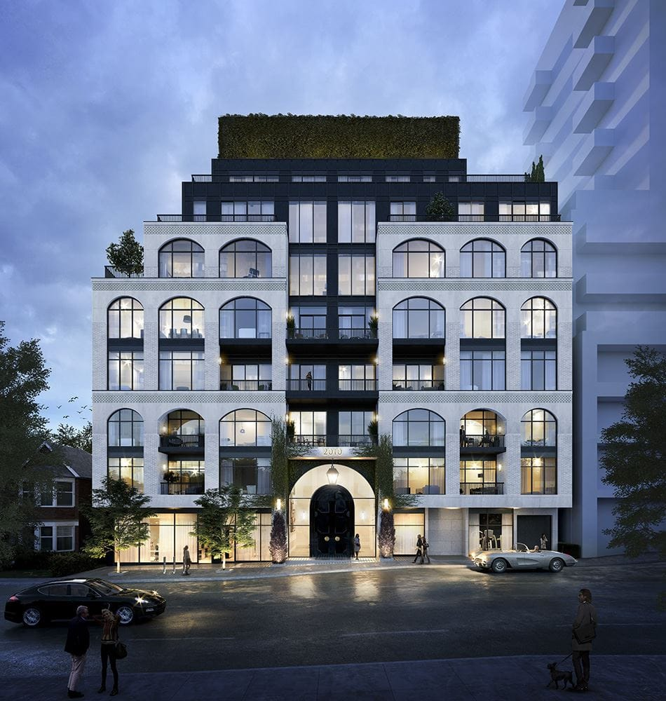 Rendering of The Rhodes Condos exterior front-facing view at night.