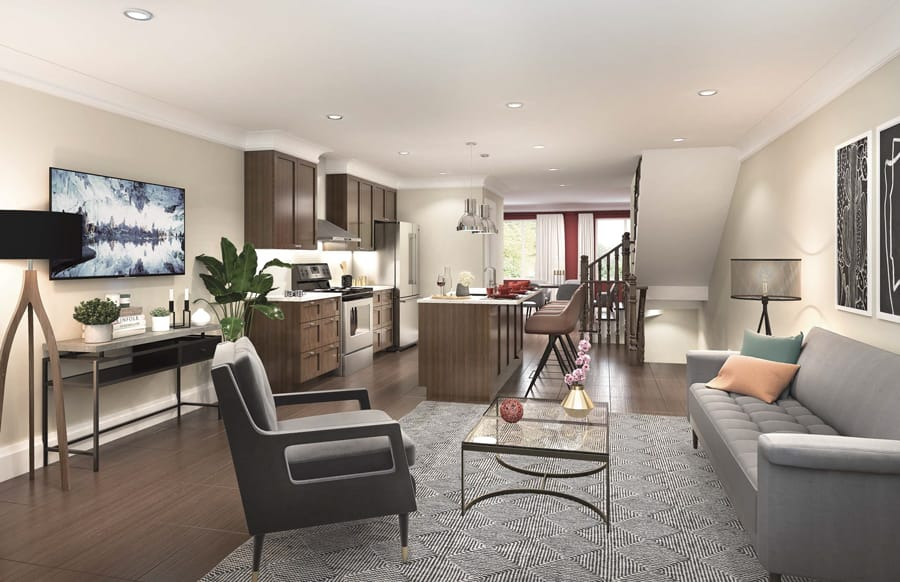 Interior rendering of Total Towns unit great room.