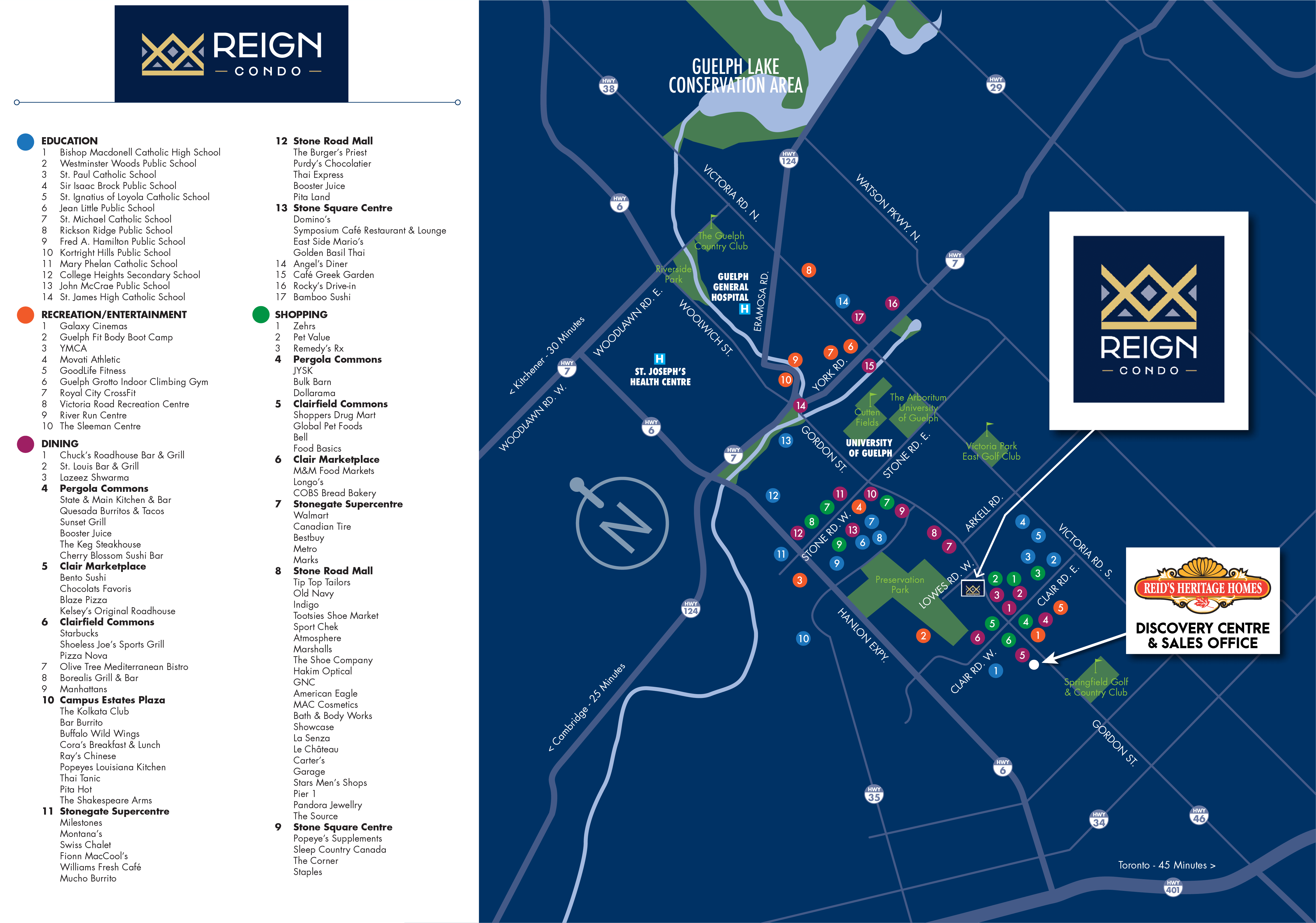 Map of area around Reign Condos in Guelph.