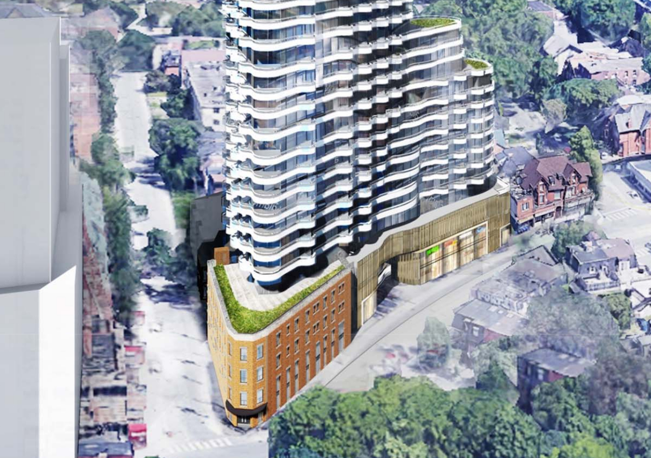 212 Dundas Street East Condos aerial with street-view.