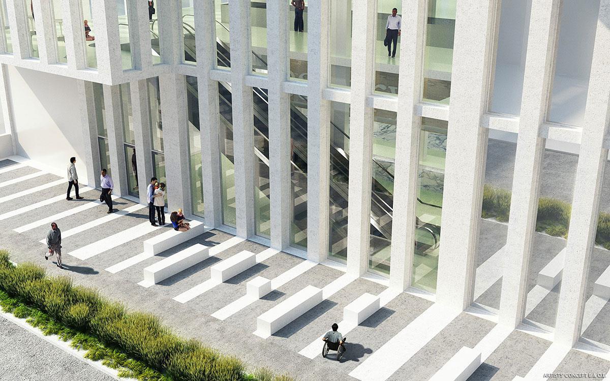 Rendering of 22 Balliol Condos exterior ground-level windows with escalator indoors.