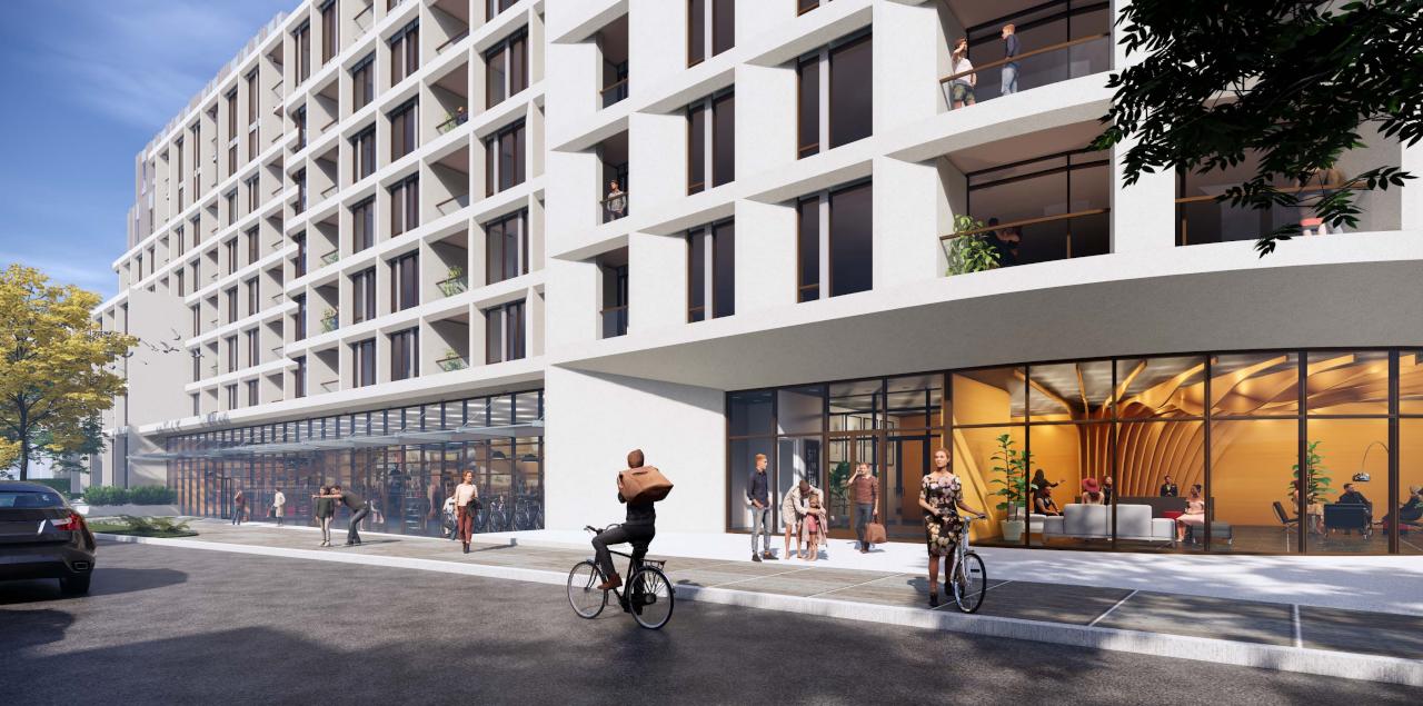 Exterior rendering 3100 Bloor Street West Condos streetscape