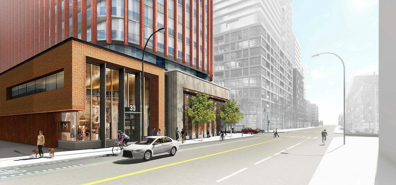 Rendering of 33 Sherbourne Condos streetscape.