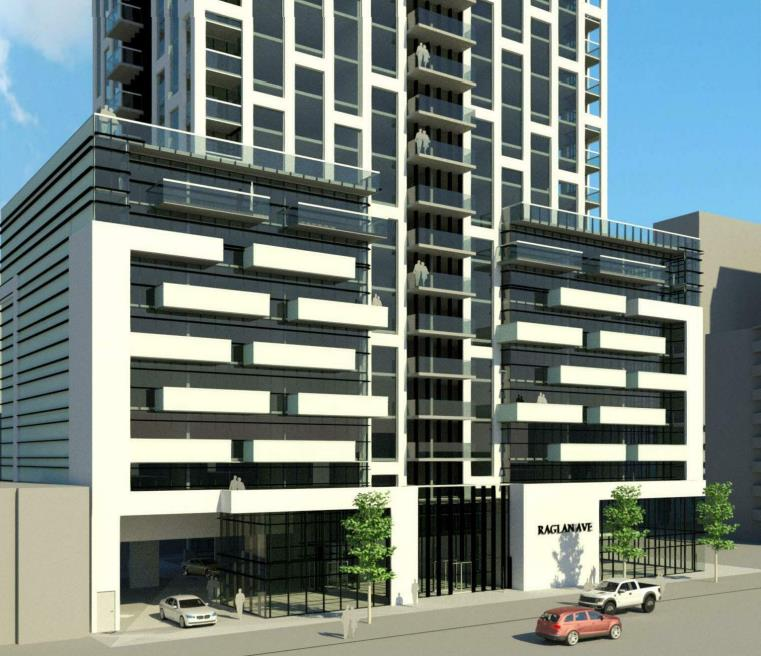 Rendering of 65 Raglan Avenue Condos podium and street view