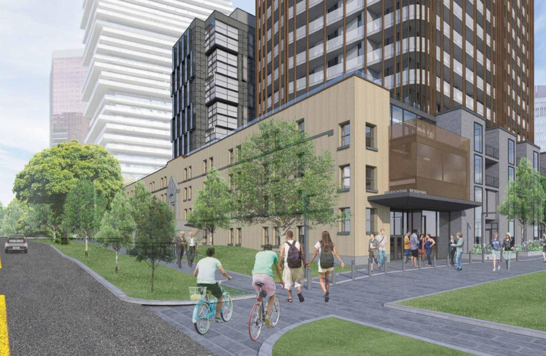 Street-view and entrance rendering of 95 St Joseph Condos in Toronto.