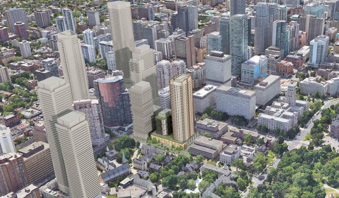 Aerial rendering of 95 St Joseph Condos in Toronto.