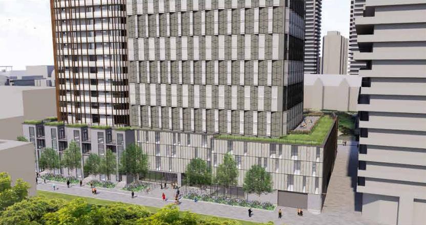 Exterior side-view rendering of 95 St Joseph Condos in Toronto.
