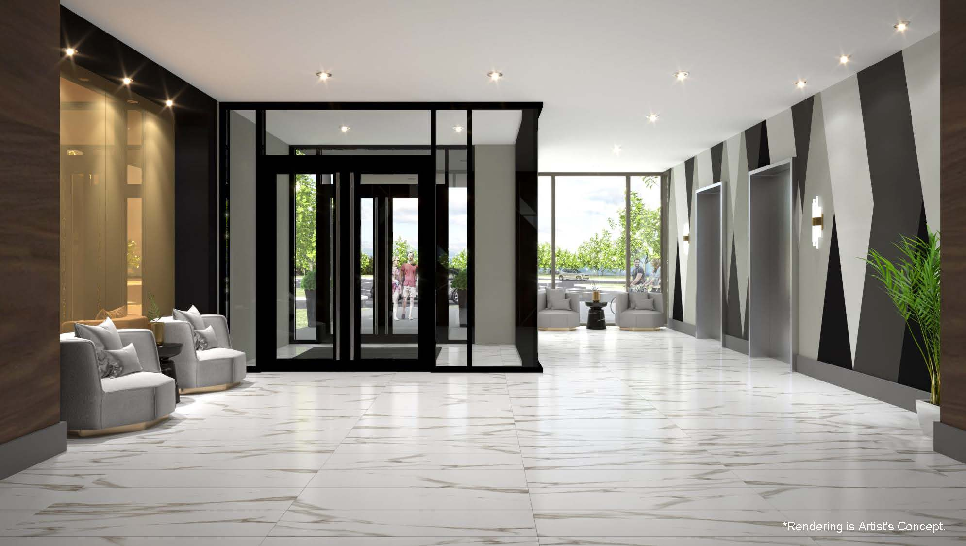 Rendering of Reign Condos Lobby