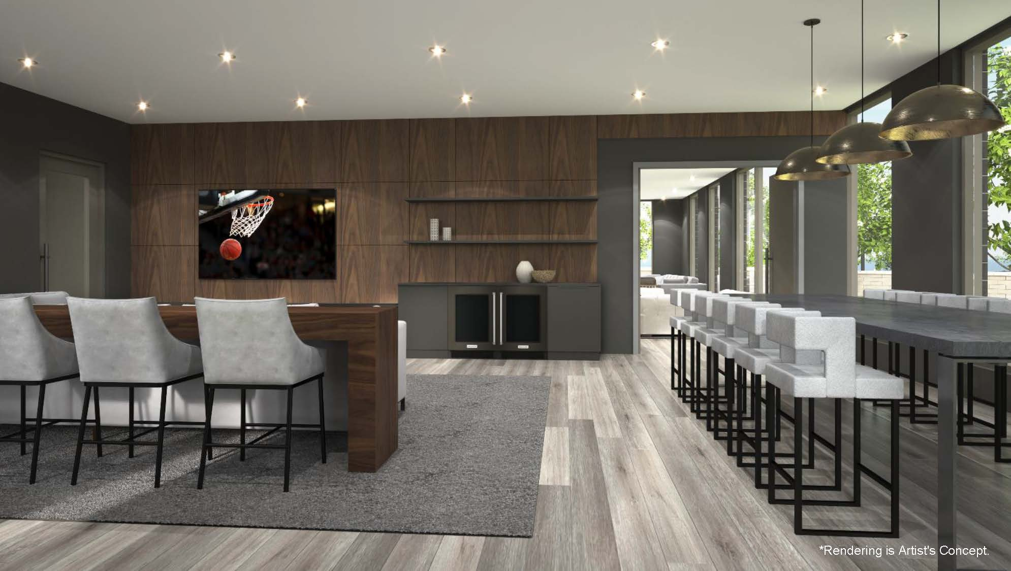 Rendering of Reign Condos Party Room with flat screen TV.