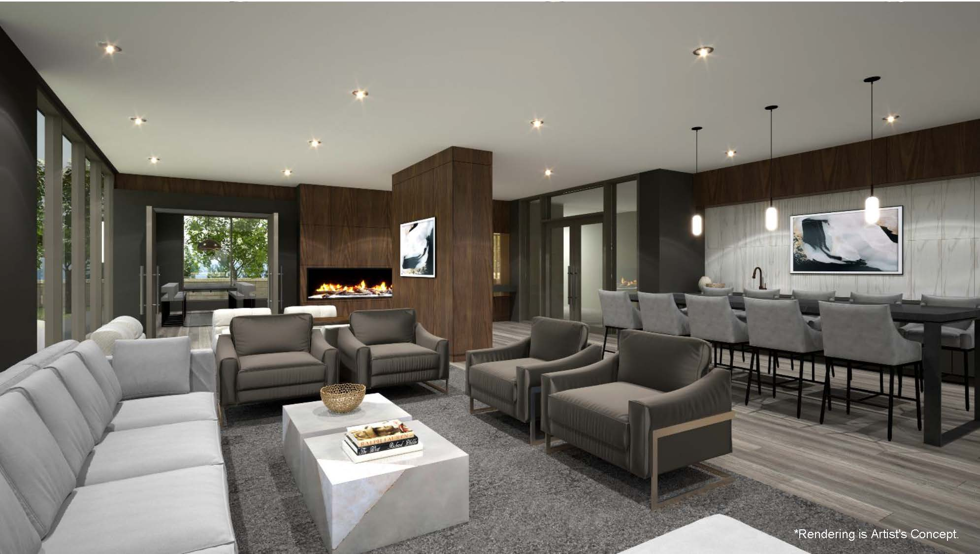 Rendering of Reign Condos party room with lounge area.