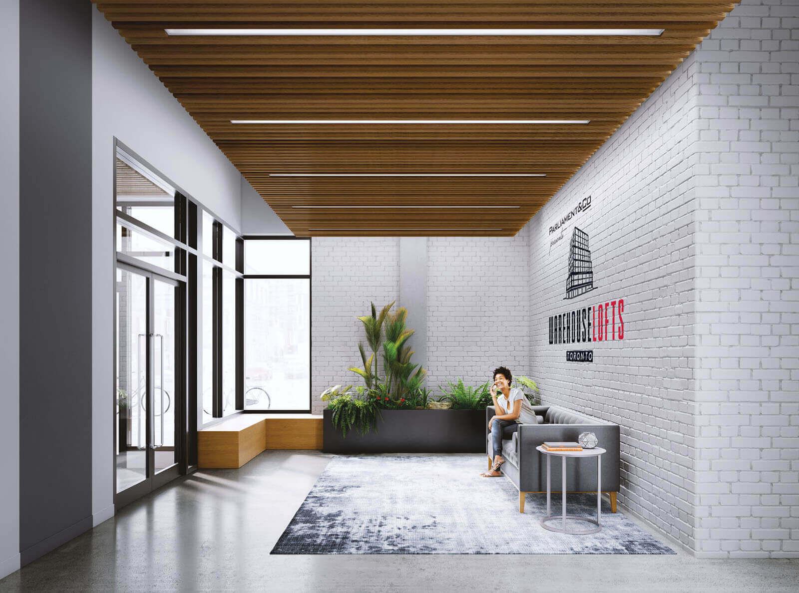 Lobby rendering of Warehouse Lofts Toronto