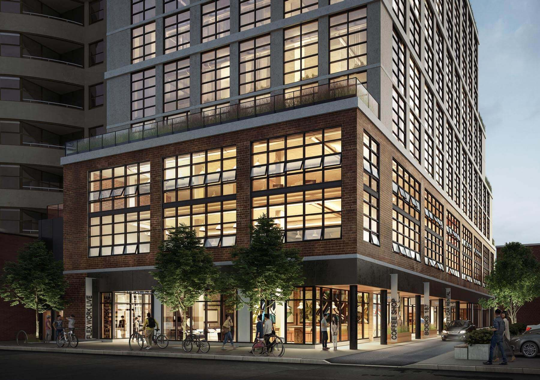 Exterior rendering of Warehouse Lofts Toronto at night with streetview.