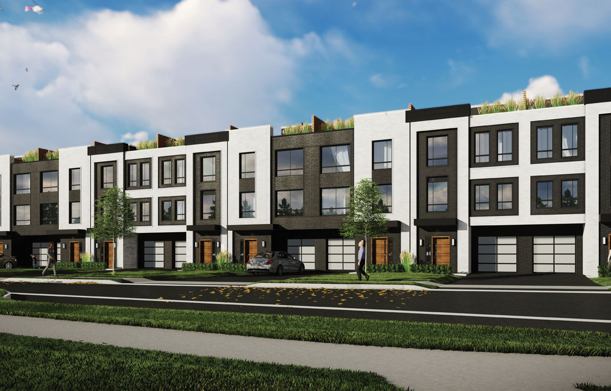 Rendering of Glendor Towns full exterior grouping of townhouses.
