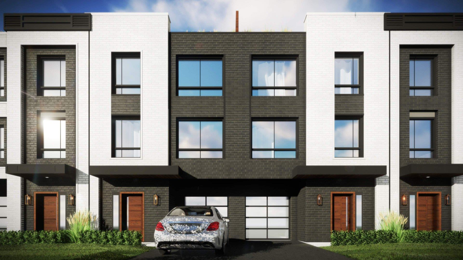 Rendering of Glendor Towns partial exterior with car in driveway.