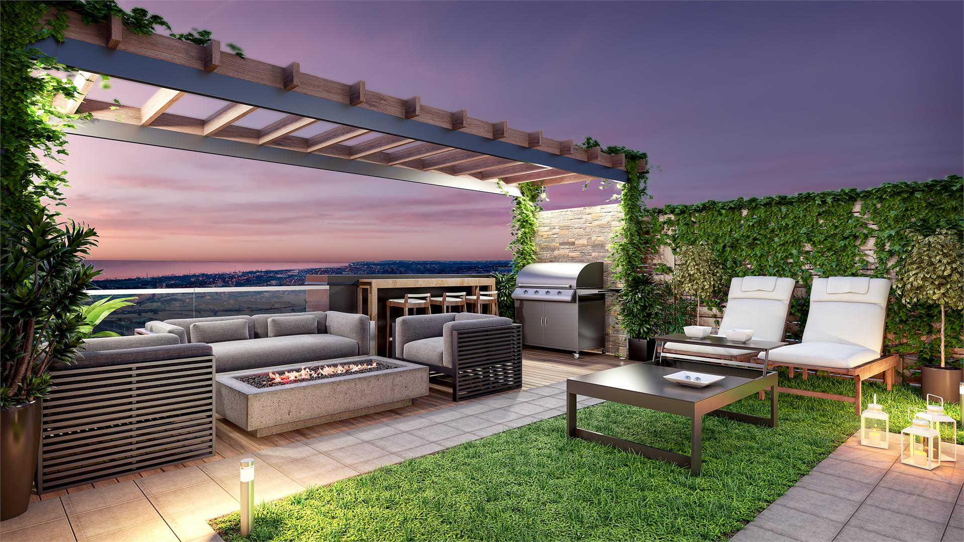 Rendering of Glendor Towns rooftop terrace at night.