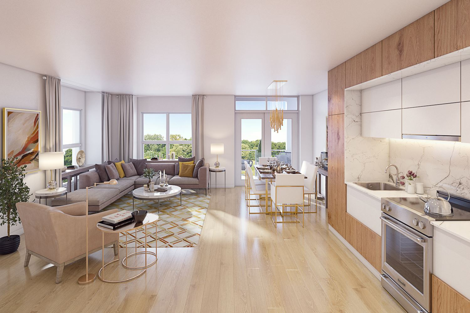 Rendering of the Harrington Residences suite interior open-concept kitchen and living room.