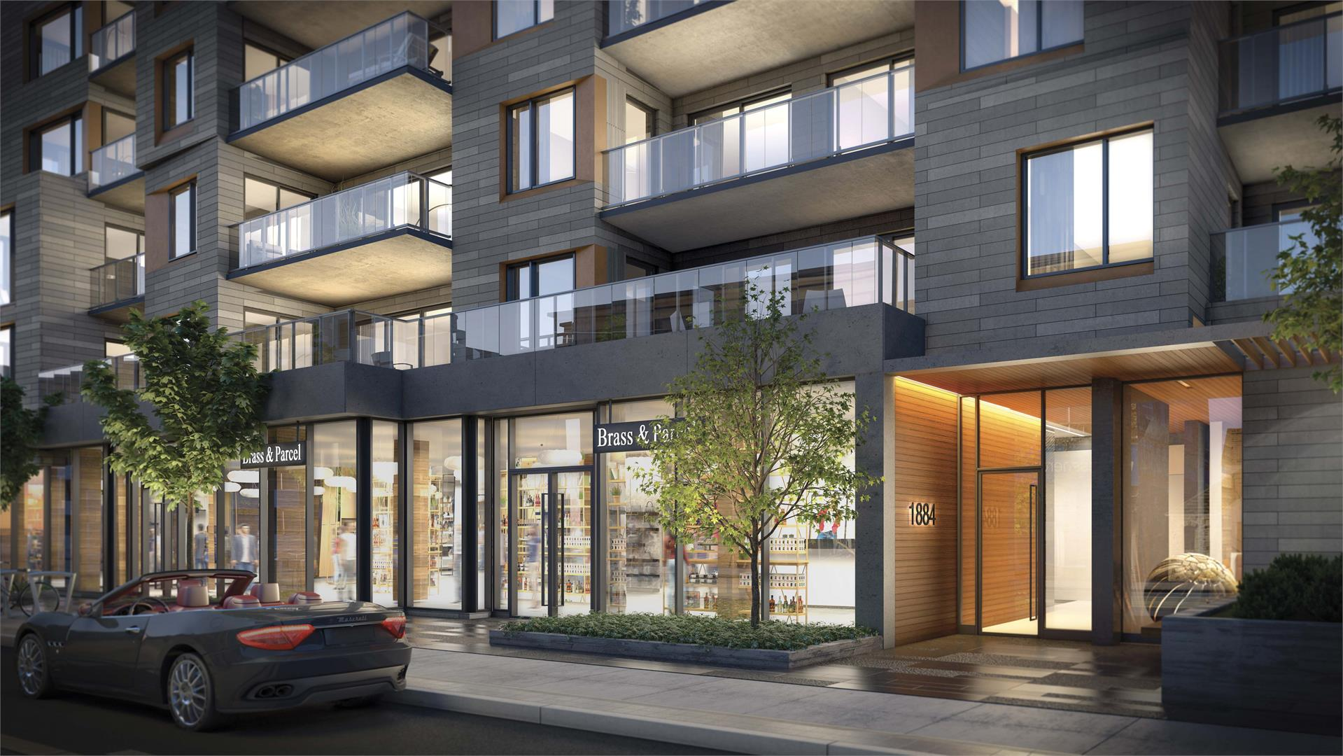 Rendering of Heartwood the Beach Condos exterior and ground-level retail