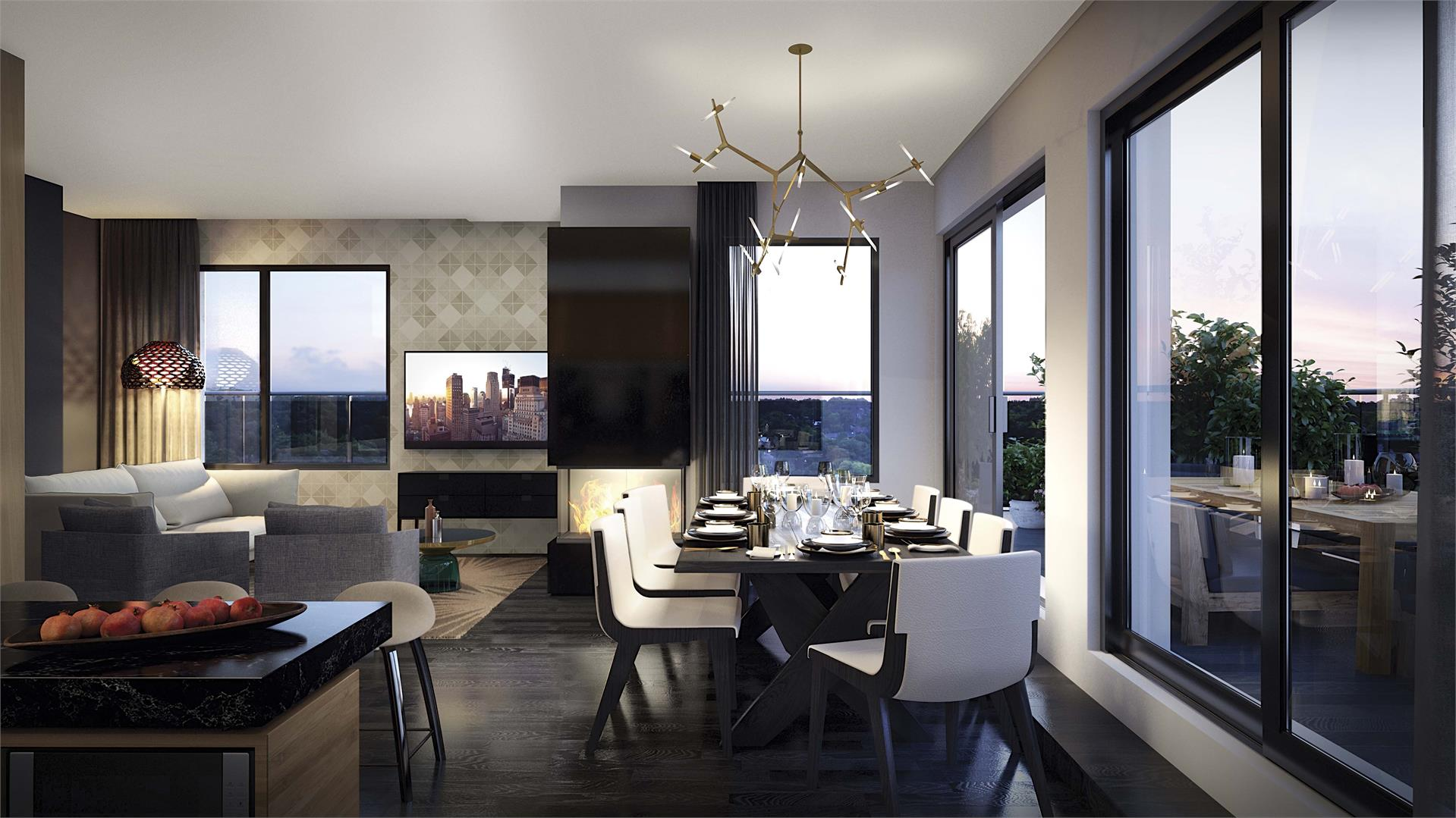 Rendering of Heartwood the Beach Condos modern suite interior