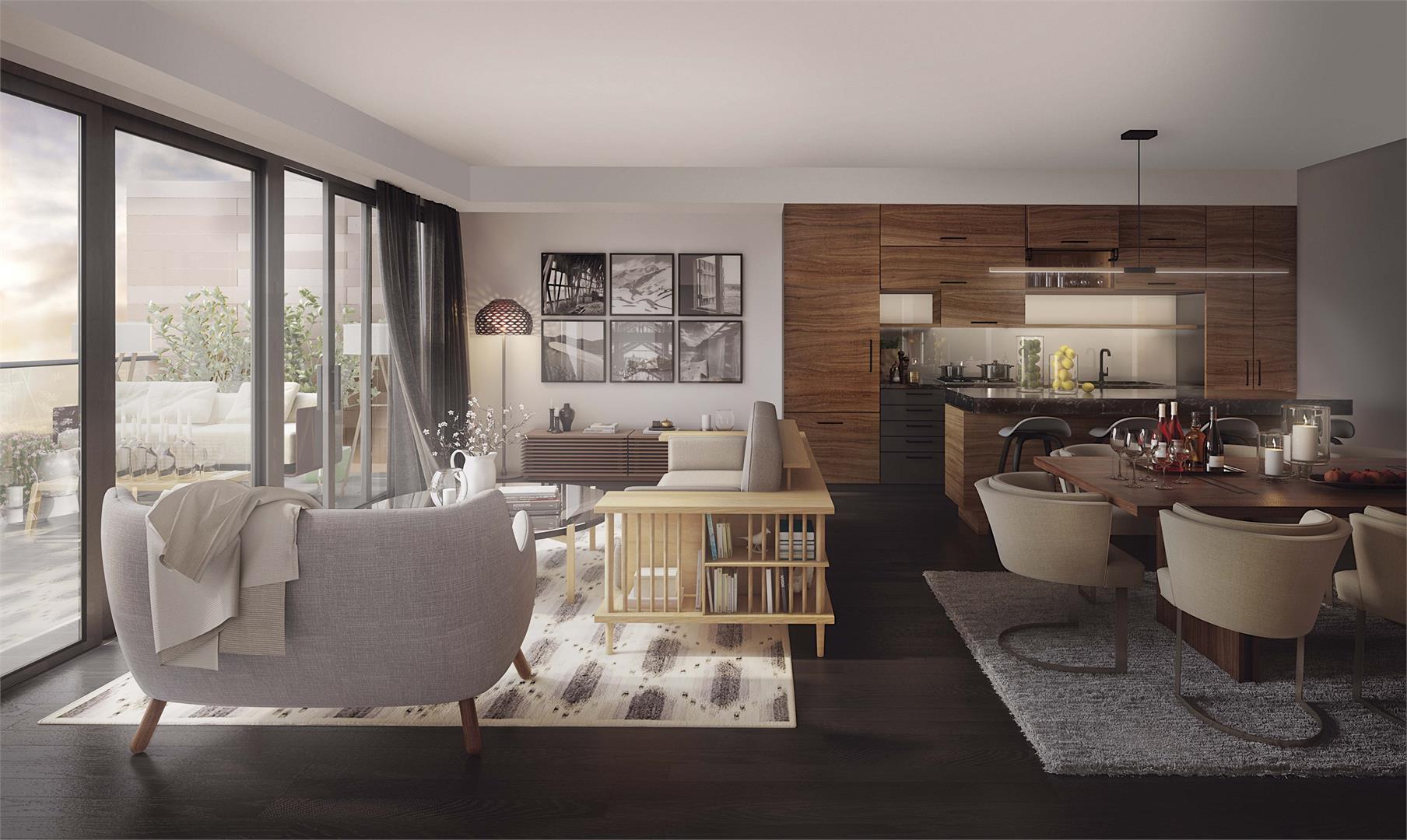 Rendering of Heartwood the Beach Condos suite interior