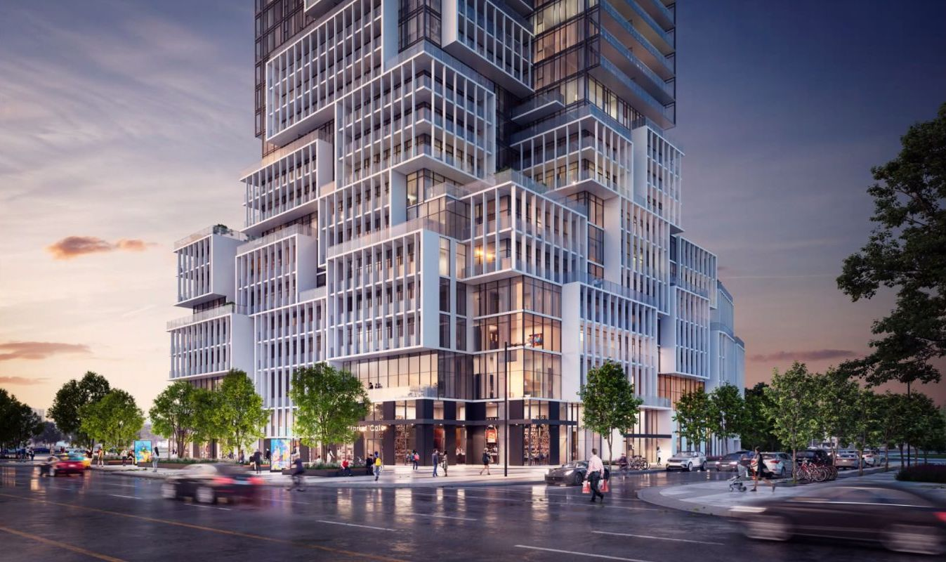 Rendering of M4 Condos street view at night