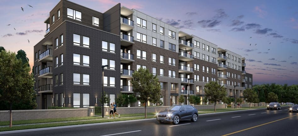 Exterior rendering of Reign Condos in Guelph by Reid's Heritage Homes.