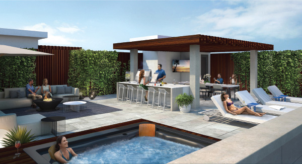 Rendering of The Berkshire Residences rooftop with outdoor swimming pool.