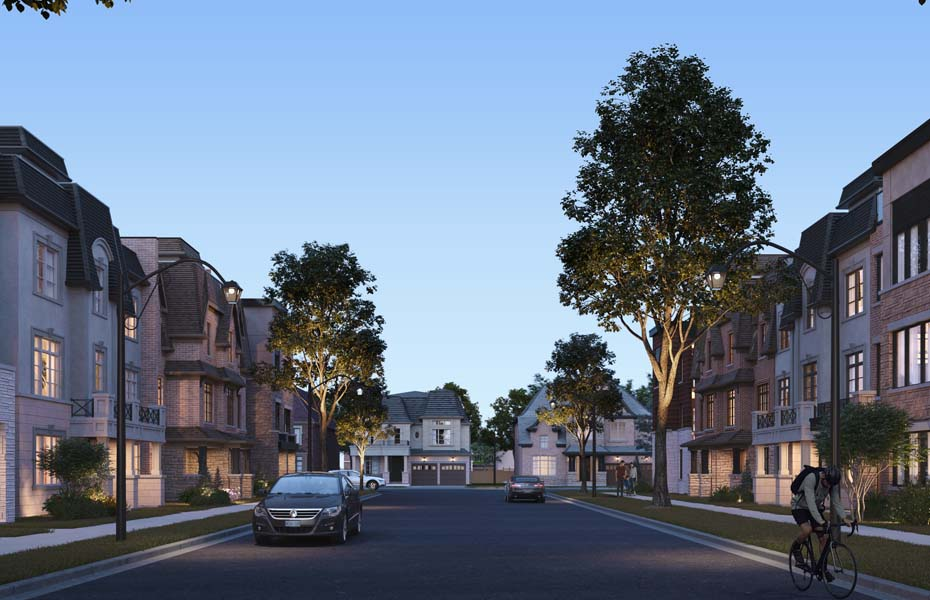 Rendering of Union Village community streetscape view at dusk.