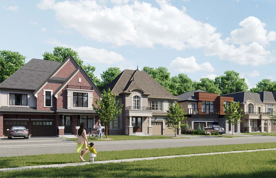 Rendering of Union Village single family home streetscape.