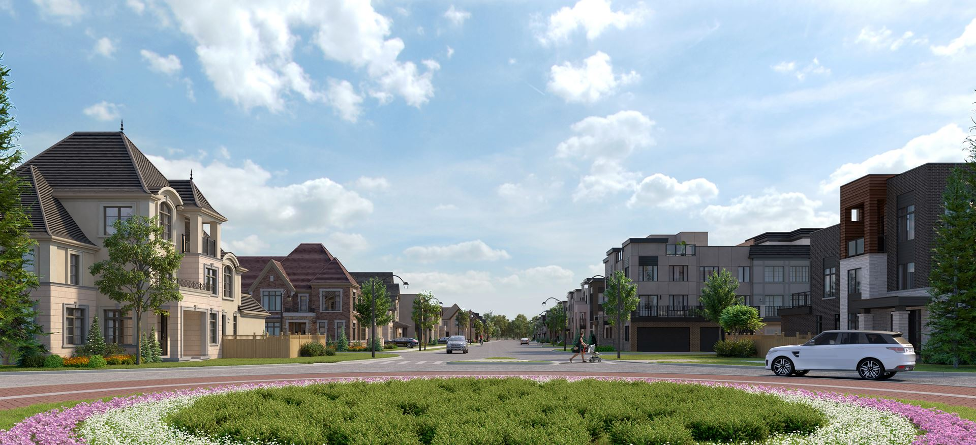 Rendering of Union Village streetscape and court.