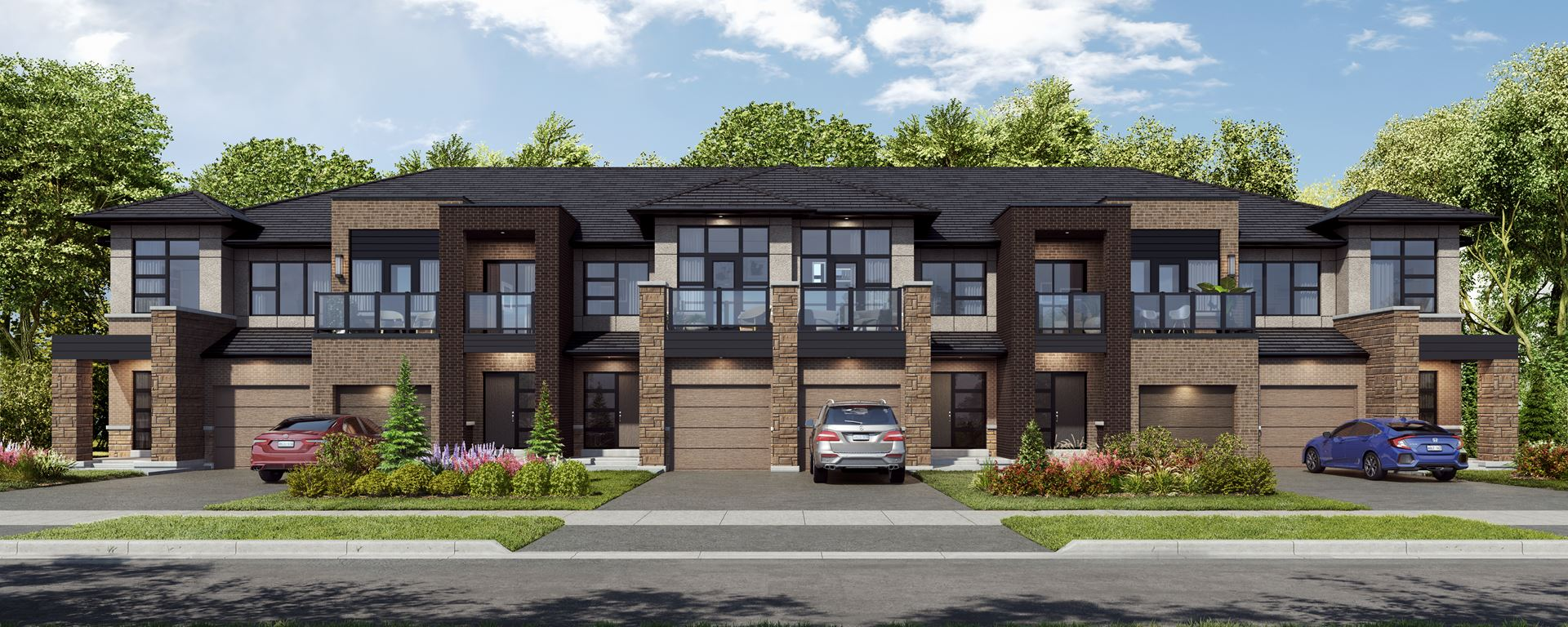 Rendering of Union Village townhome elevation streetscape.