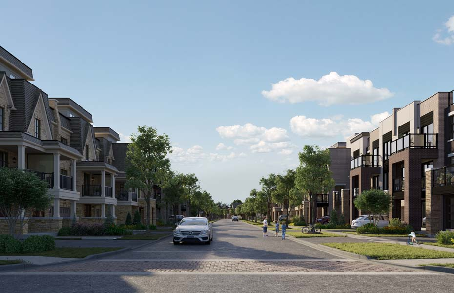 Rendering of Union Village townhome streetscape.