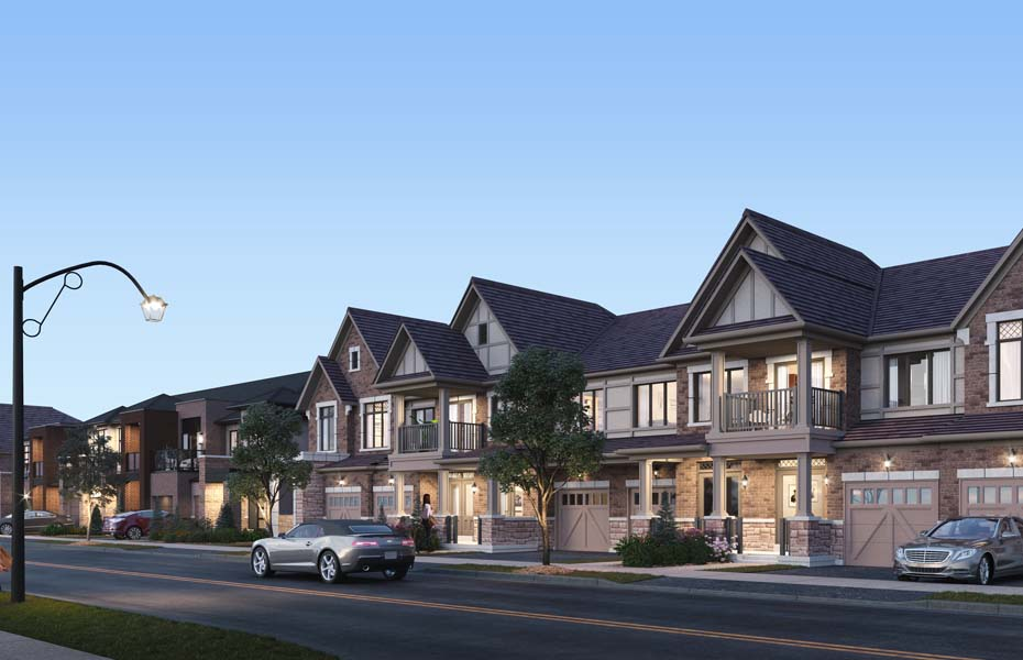 Rendering of Union Village Traditional townhome streetscape at dusk.