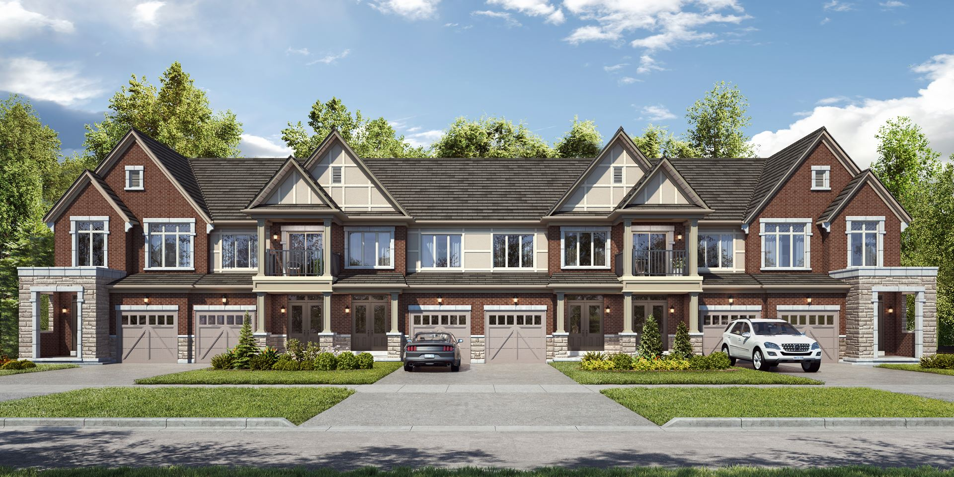 Rendering of Union Village Traditional townhome streetscape.