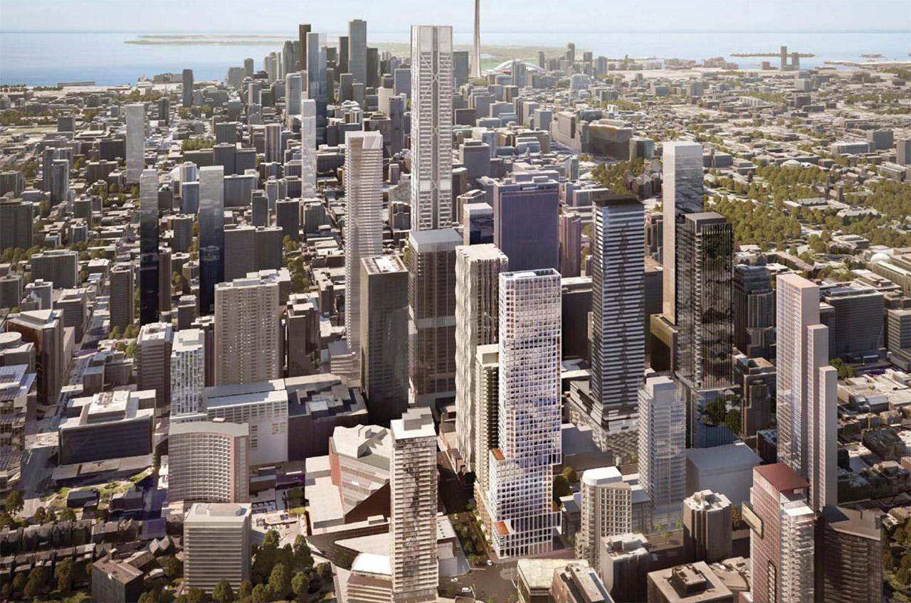 Aerial rendering of 1 Scollard Condos in Toronto.
