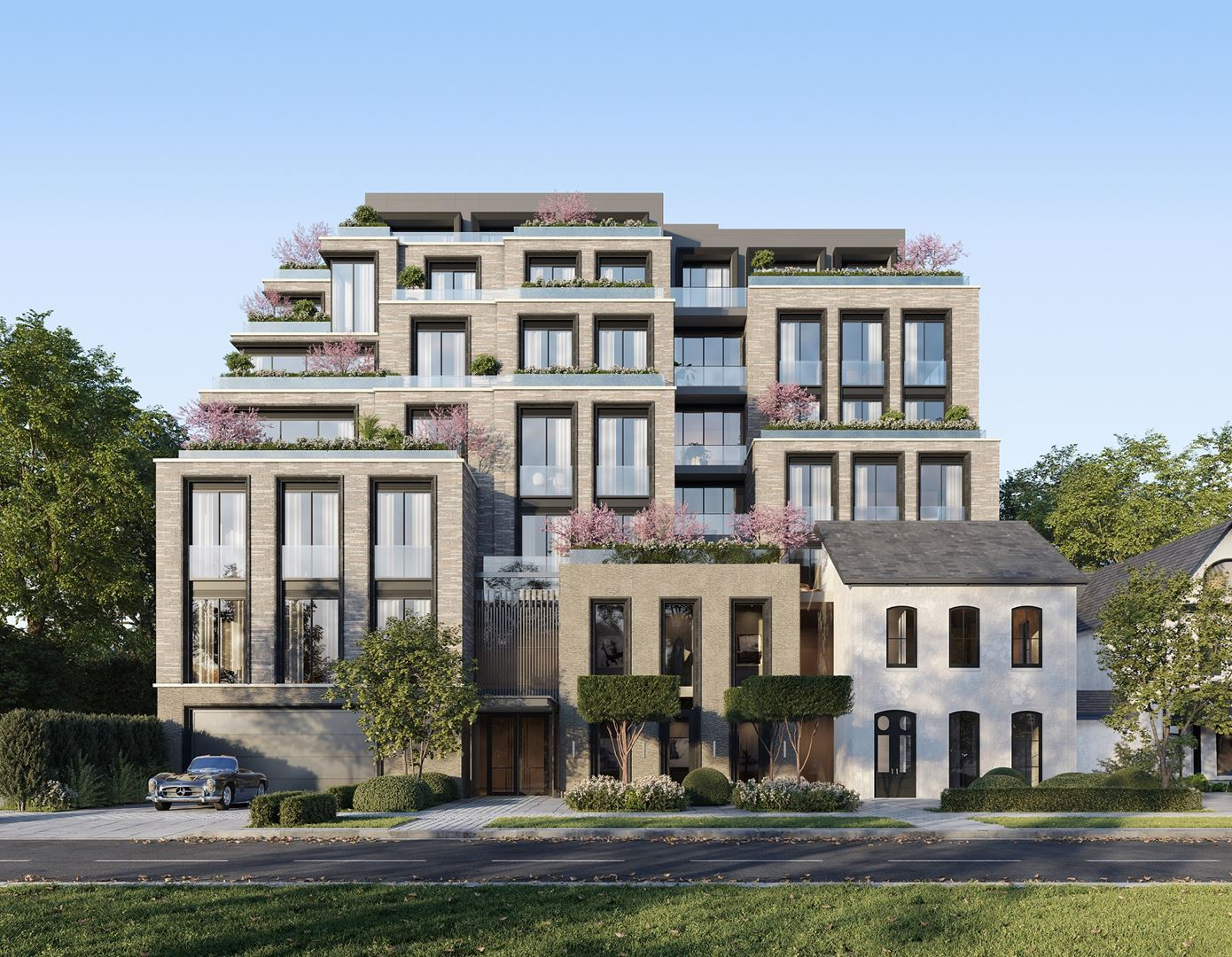 Rendering of 10 Prince Arthur Condos exterior front view.