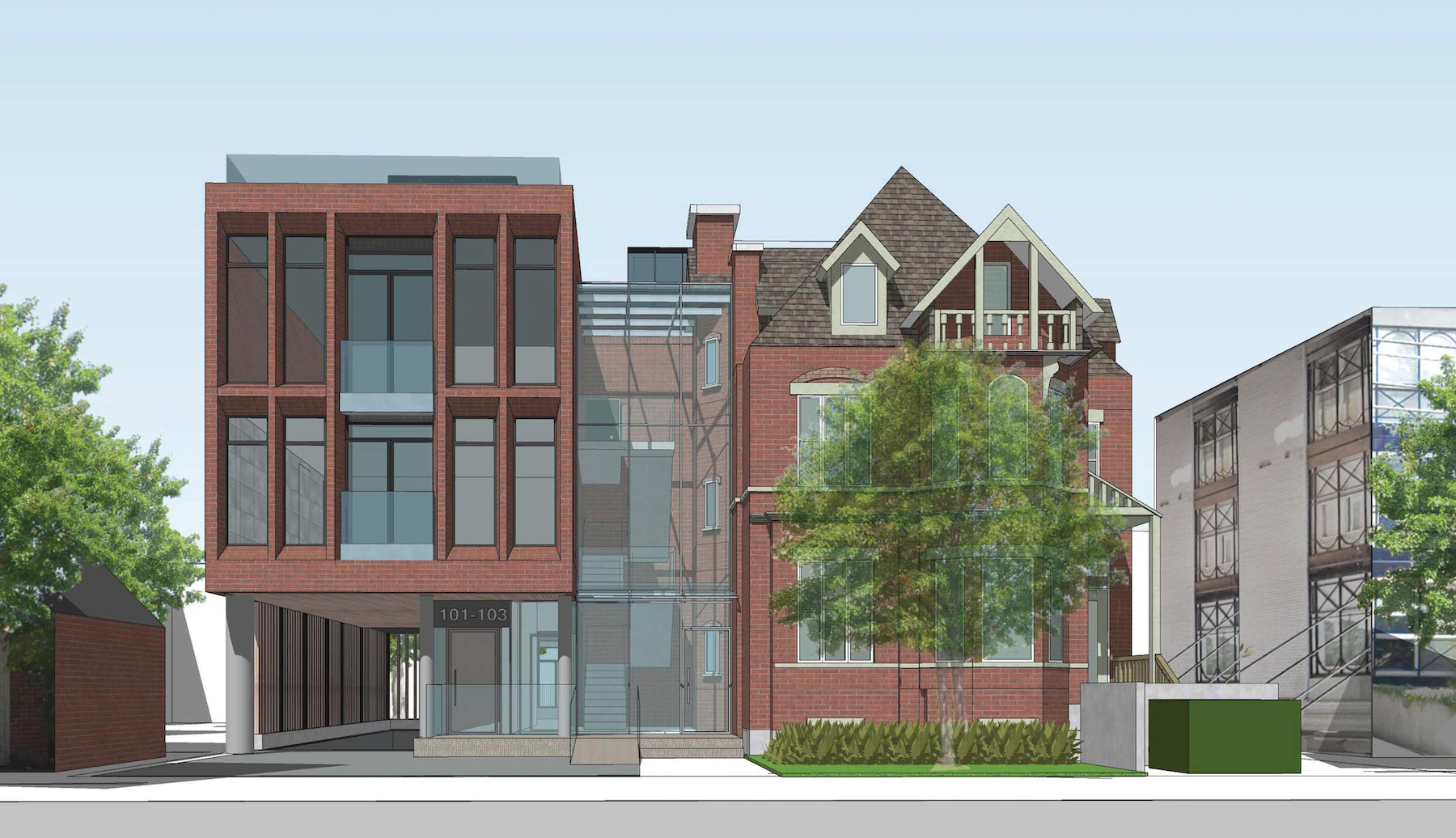 Rendering of 101 Heath Street Condos front-facing full building exterior.