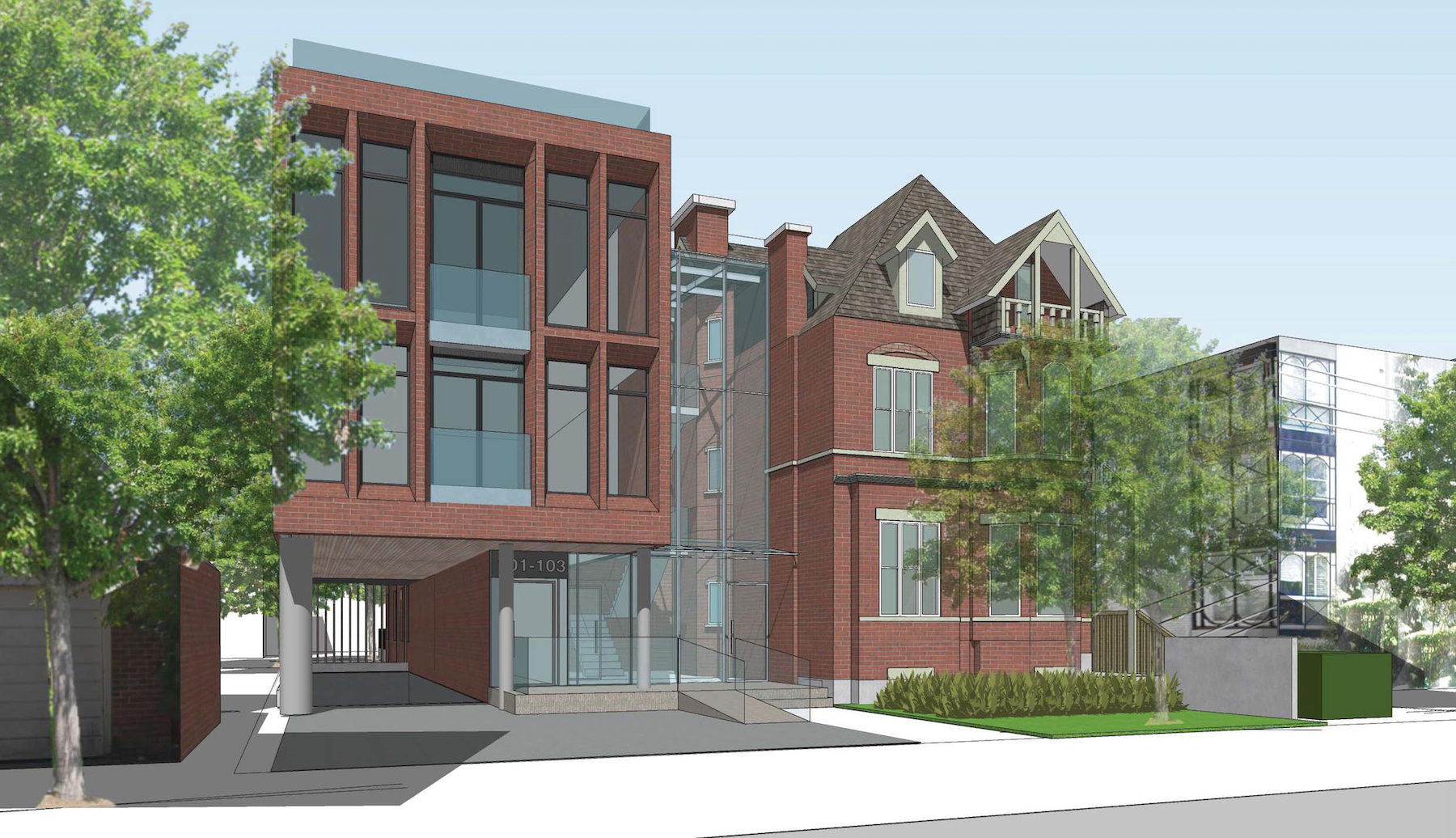 Rendering of 101 Heath Street Condos front-facing side building exterior.