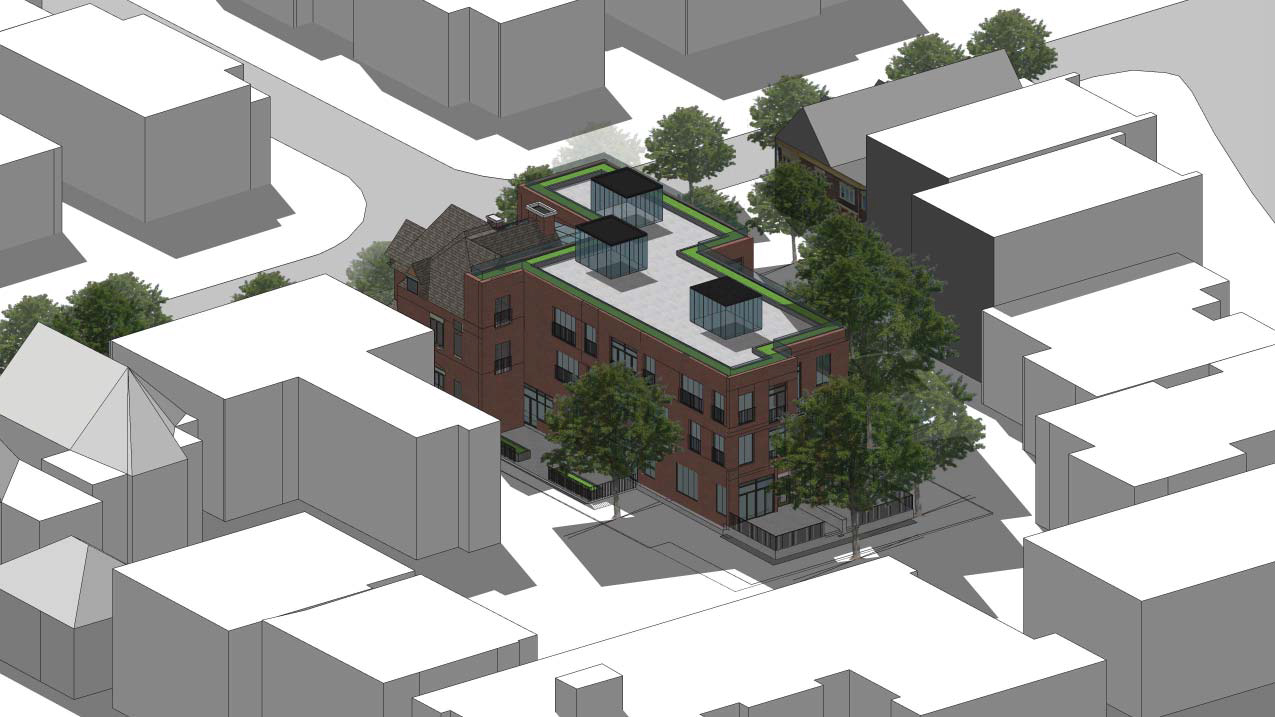 Aerial side-facing rendering of 101 Heath Street Condos.